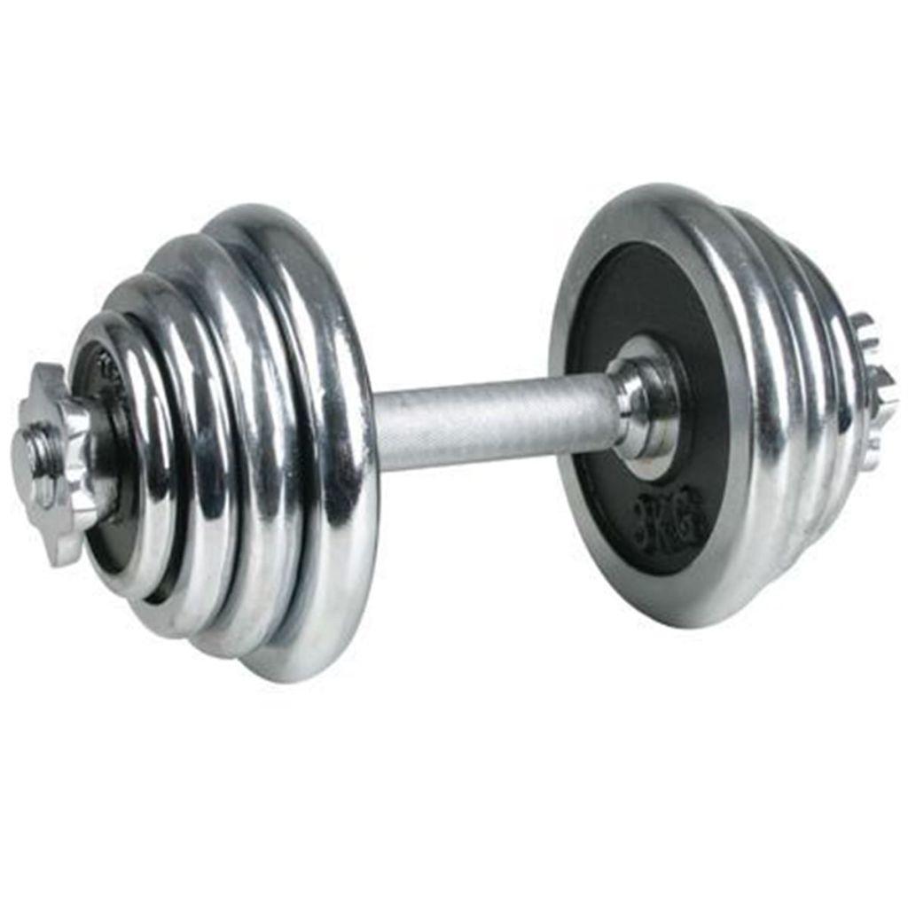 Ovaj kromirani jednoručni uteg Avento 41HD može vas poštedjeti gnjavaže i troškova odlaska u teretanu i omogućiti vježbanje kod kuće. Ovaj ergonomski uteg ima ukupnu težinu od 15 kg i uključuje 2 diska od 3 kg