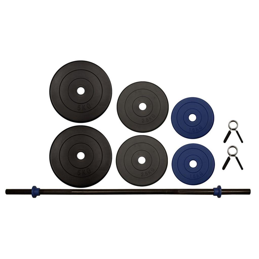 pojedinačno i u skupinama. Uteg se lako prilagođava dodavanjem ili uklanjanjem diskova za težinu. Čitav set uredno je upakiran u lijepu kutiju. Ukupna težina seta za vježbanje Avento 41HB jest 20 kg