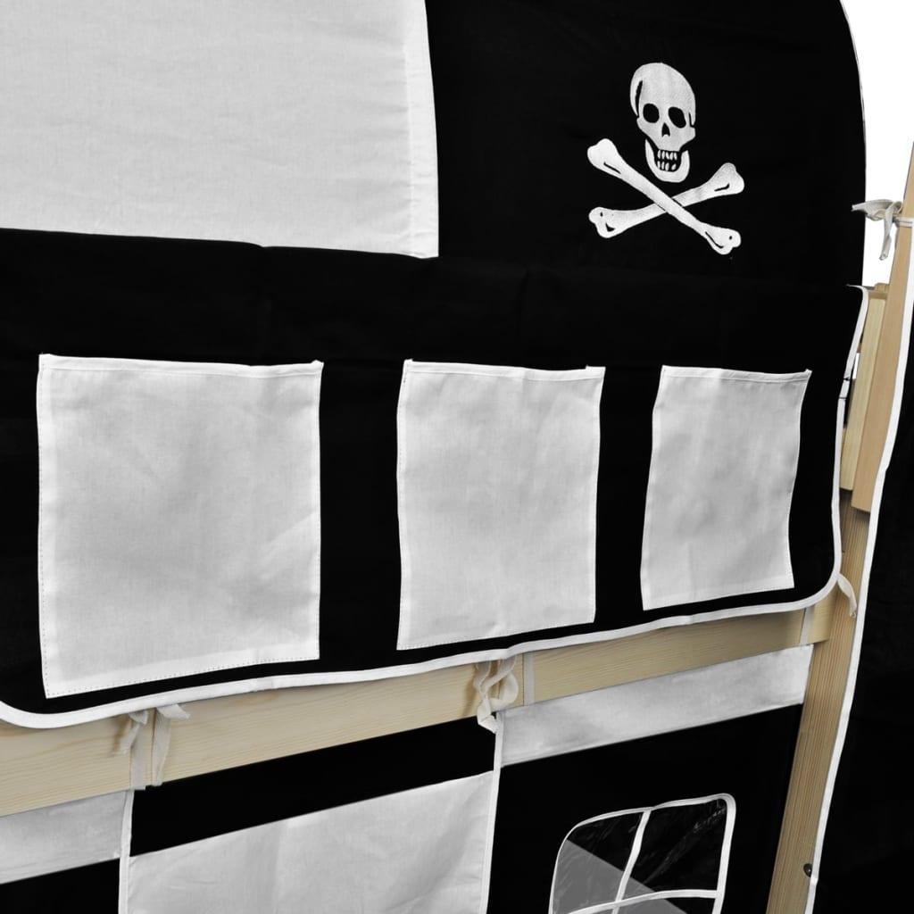 od kojih se oba mogu prekriti šatorom. Tobogan i ljestve mogu se montirati bilo na lijevoj ili desnoj strani a u isporuku je uključen i baldahin. Krevet je pogodan za madrac od 90 x 200 cm. Vaše će dijete uživati spavajući i igrajući se u sopstvenoj piratskoj tvrđavi! Molimo vas