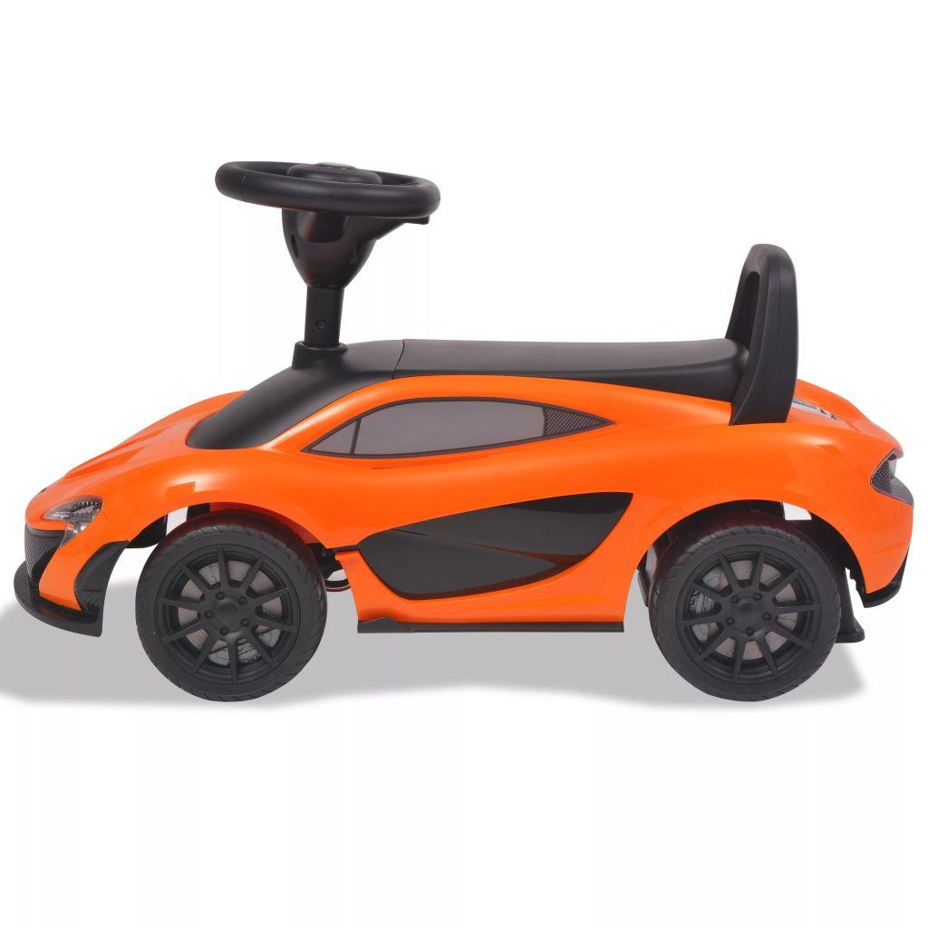 ovaj automobil na guranje vrlo je stabilan i siguran. Pritisnite tipke na upravljaču i glazba će svirati. Imate izbor od 6 pjesama za dodatnu zabavu tijekom vožnje. Ovaj automobil igračka ima naslon radi dodatne sigurnosti. Logotip i verbalni žig McLarena zaštitni su znakovi tvrtke McLaren i upotrebljavaju se pod licencijom. Prikladan je za djecu od 2 do 6 godina. Mora ga sastaviti odrasla osoba.