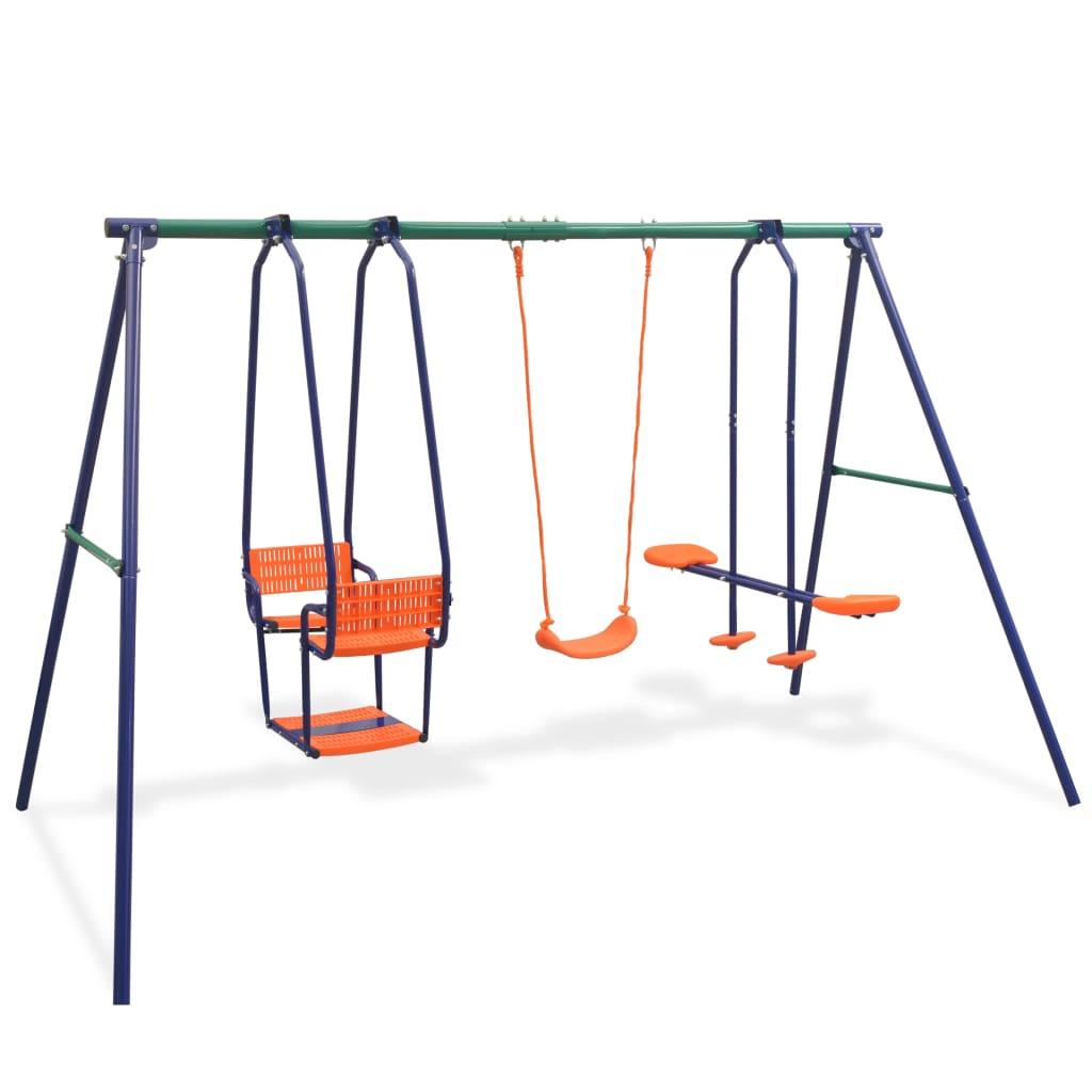 Igranje na ovom setu za ljuljanje će vašoj djeci postati omiljena aktivnost na otvorenom. Do petero djece se istovremeno može igrati i uživati u suncu i svježem zraku. Ovaj set ljuljački se sastoji od čvrstog metalnog A-okvira s jednom ljuljačkom