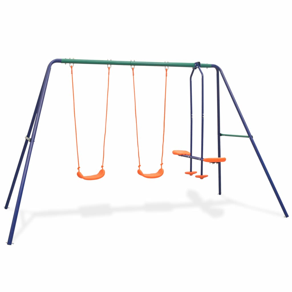 Igranje na ovom setu za ljuljanje će vašoj djeci postati omiljena aktivnost na otvorenom! Do četvero djece se istovremeno može igrati i uživati u suncu i svježem zraku. Ovaj set ljuljački se sastoji od čvrstog metalnog A-okvira 2 ljuljačke za jednu osobu i jednom tandem ljuljačkom. Tandem ljuljačka je prikladna za ljuljanje dvoje djece istovremeno. Zahvaljujući čvrstom čeličnom okviru i plastičnim sjedalima