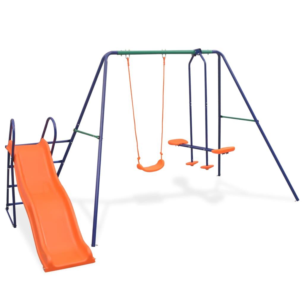 Igranje na ovom setu za ljuljanje će vašoj djeci postati omiljena aktivnost na otvorenom! Do troje djece istovremeno može igrati i uživati u suncu i svježem zraku. Ovaj set ljuljački se sastoji od čvrstog metalnog A-okvira s običnom ljuljačkom