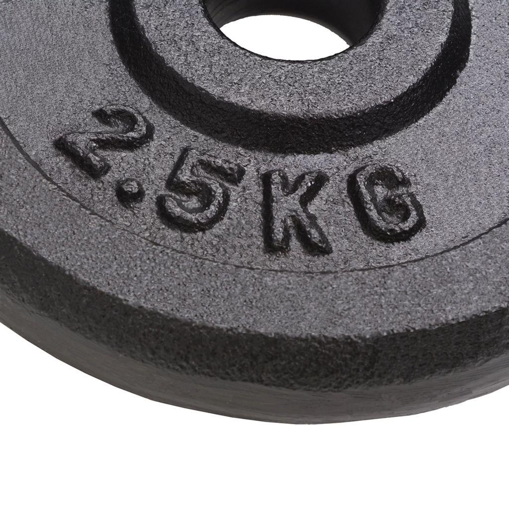 šipkom za jednoručne utege ili zakrivljenom šipkom promjera 30 mm. Savršene su za korištenje kod kuće ili u teretani. Ove ploče za utege izrađene su od visokokvalitetnog lijevanog željeza s premazom od laka. Težina je jasno naznačena na svakoj ploči radi brzog i lakog prepoznavanja.