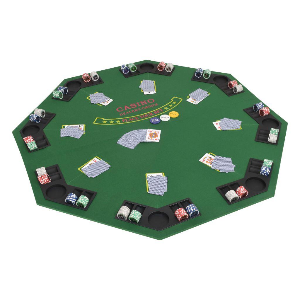 Organizirajte profesionalno igranje pokera u udobnosti vlastitog doma. Zbog posebne zelene presvlake žetoni i igraće karte lako klize preko stola. Ova podloga za kockarnicu dizajnirana je s 8 držača za čaše i žetone
