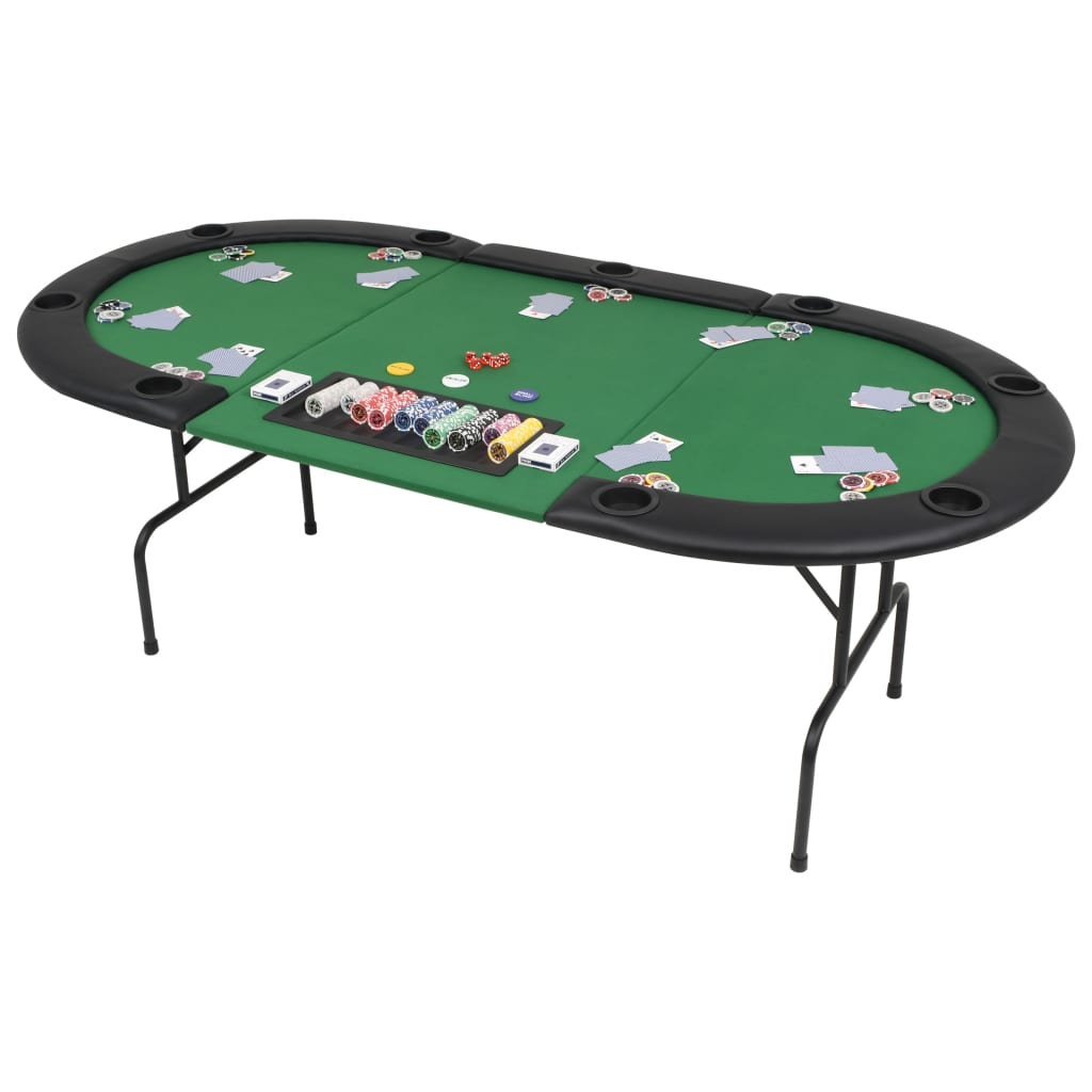 Organizirajte profesionalno igranje pokera u udobnosti vlastitog doma pomoću ovog sklopivog stola za poker. Površina stola izrađena je od MDF materijala s presvlakom od poliestera