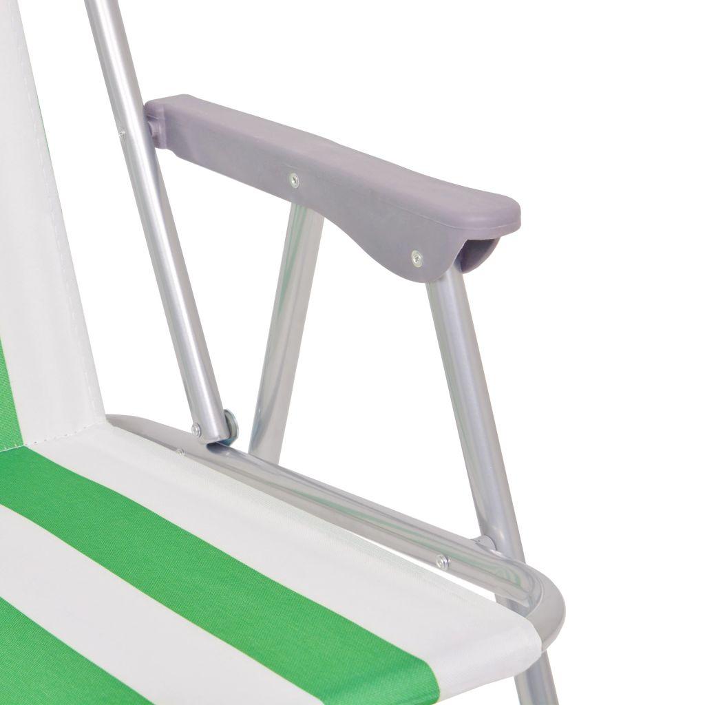 putovanja i druge aktivnosti na otvorenom. Ove izdržljive i stabilne stolice imaju snažnu čeličnu konstrukciju. Svaka stolica ima nosivost do 100 kg. Sjedala i nasloni od visokokvalitetne tkanine su otporni i udobni te imaju šareni prugasti dizajn koji ove stolice čini savršenim za plažu. Stolice su jednostavne za prenošenje zahvaljujući laganom čeličnom okviru i također se mogu sklopiti kad se ne koriste. Isporuka uključuje 6 stolica za kampiranje.