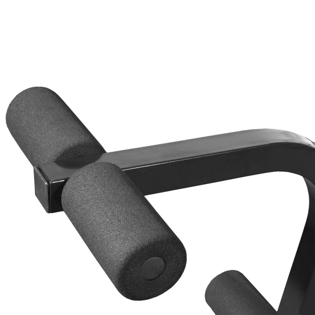 dobro je podstavljena i ima valjke od pjene koji podupiru koljena. Vježbanje s dvoručnim utegom vrlo je sigurno zahvaljujući sigurnosnim držačima. Klupa za dizanje utega nakon uporabe može se jednostavno sklopiti i pohraniti okomito. Set dvoručnih i jednoručnih utega sadrži čvrste kromirane šipke s opružnim spojnicama s brzim djelovanjem (za šipku s dvoručnim utezima)