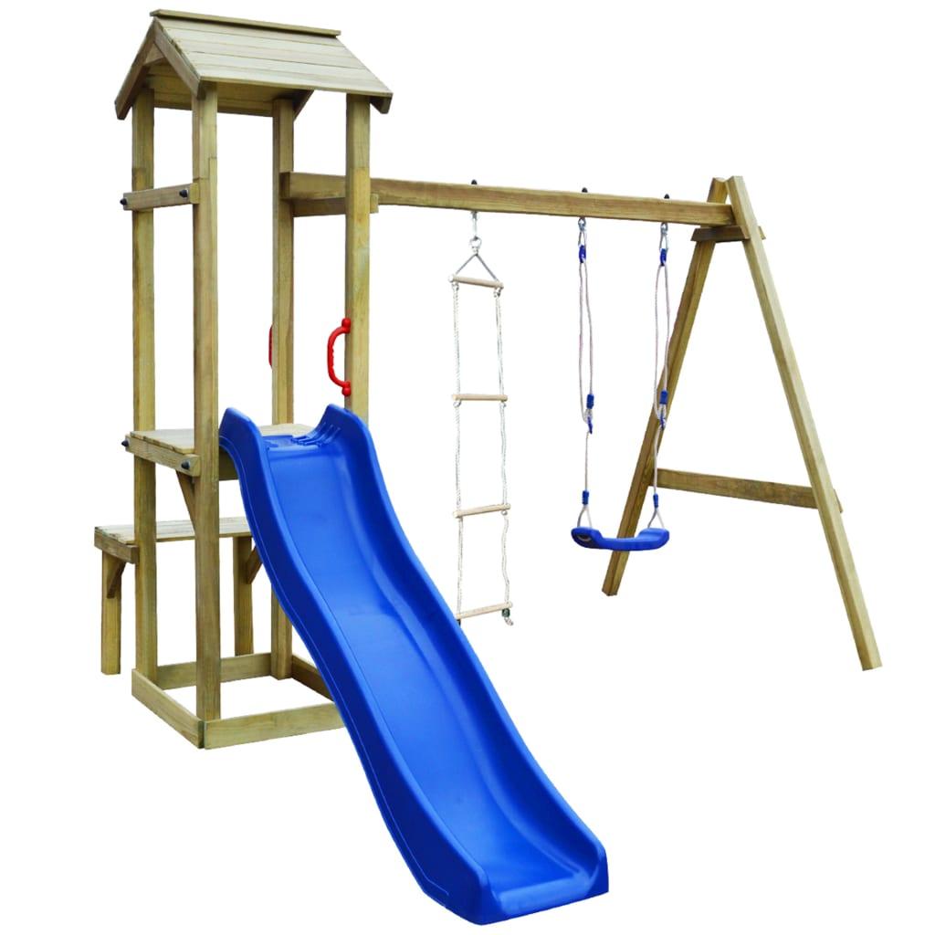 možete pretvoriti svoje dvorište u očaravajuće igralište za svoje mališane! Čvrsti okvir izrađen je od impregnirane borovine. Ova kućica za igru od masivnog drva iznimno je čvrsta