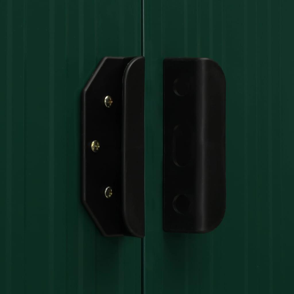 vrtne opreme itd. Kućica za pohranu dizajnirana je s ventilacijskim otvorima. Drži kišu podalje i ujedno omogućuje ventilaciju u svakom trenutku kako bi se smanjilo nakupljanje vlage i mirisa u kućici. Njena dvostruka klizna vrata omogućuju jednostavan ulazak i izlazak. S konstrukcijom od pocinčanog čelika otpornog na koroziju