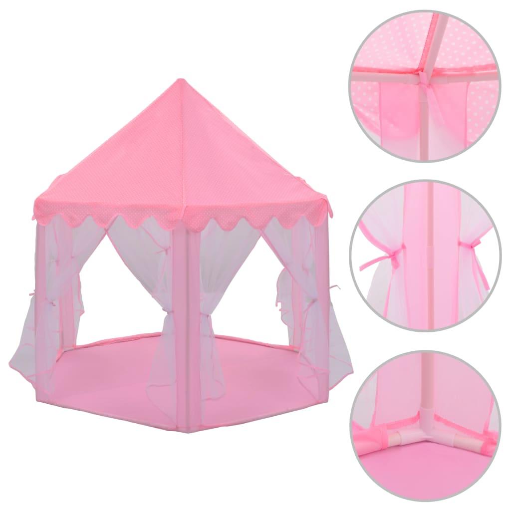 Naš princezin šator za igru pružit će veliki užitak vašoj voljenoj djeci. Zabavite se uz naš šator za igru! Prikladan je za unutarnju i vanjsku upotrebu. Ova kućica za igru napravljena je od poliestera i lako se čisti. Mreža će jamčiti siguran nadzor i dobru cirkulaciju zraka. Uz to
