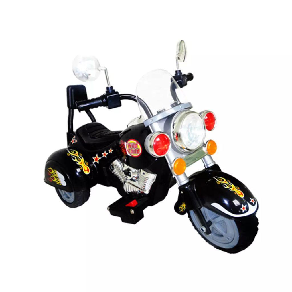 5 km / h. a automatski koči kad dijete uklanja nogu s papučice gasa. Tako da ne morate se brinuti da će svoje dijete voziti prebrzo ili nekontrolirano. Prednja i stražnja svjetla svjetlo osvijetle tijekom vožnje. Motocikl ima različite tonove i rogove (ulaz Mp3/ CD) tako da će vaše dijete postati pravi rock star. Motor može se voziti unatrag