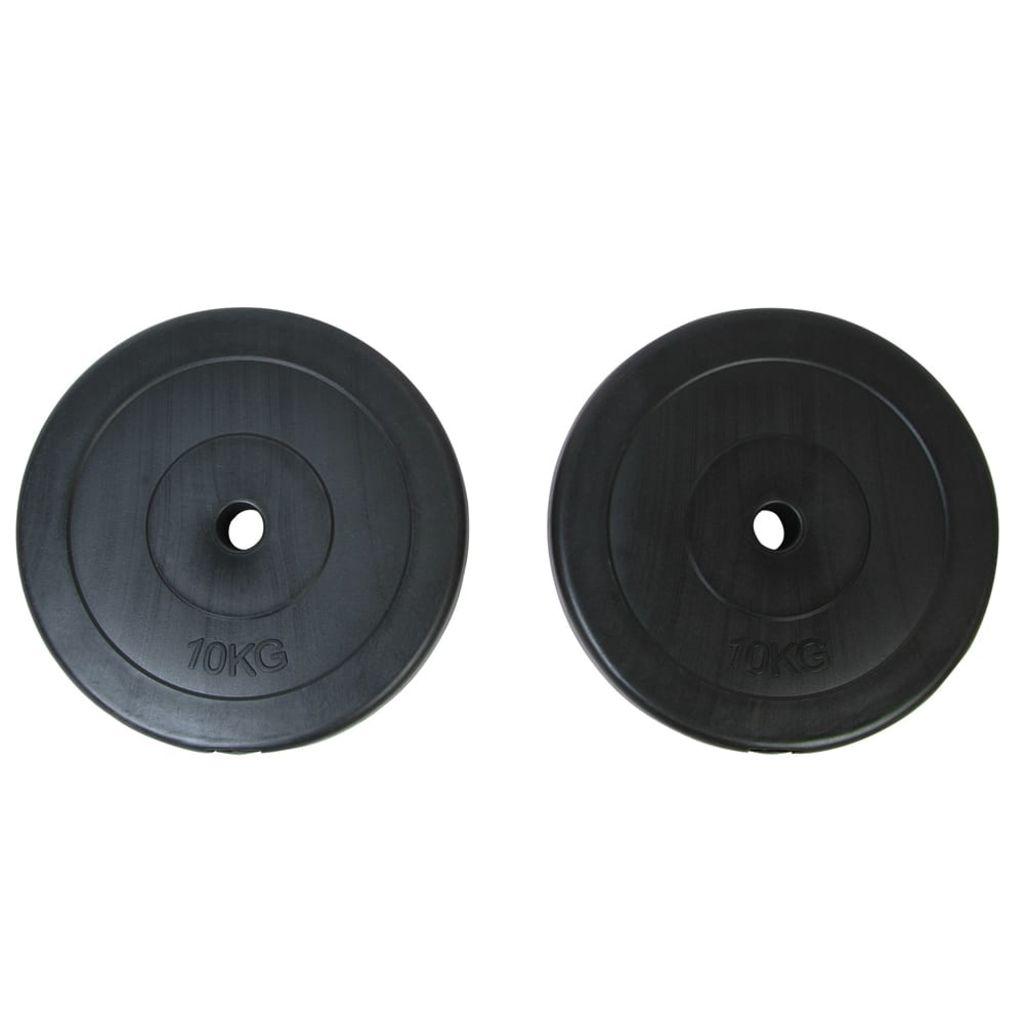 Ove dvije ploče za utege su pogodne za sve profesionalne vježbe s težinama kod kuće. Svaka težina teži 10 kg. Ploče su prekrivene s robustnom plastikom koja zaštita pod