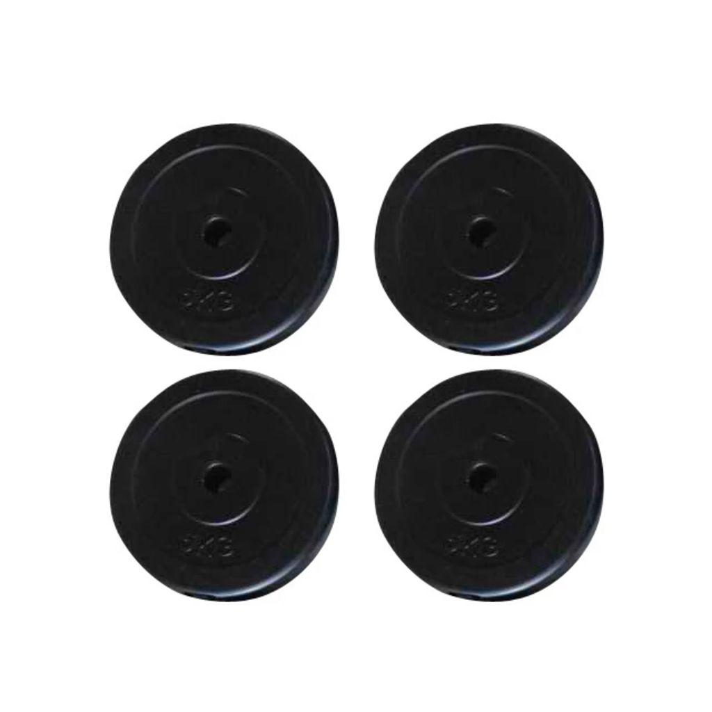 Ove ploče za utege 4 x 5 kg pogodne su za profesionalne vježbe kod kuće. Ploče su izrađene od betona i prekrivene su čvrstom plastikom pogodnom za pod. To vam omogućuje da ne iskusite dosadne zvukove utega.
