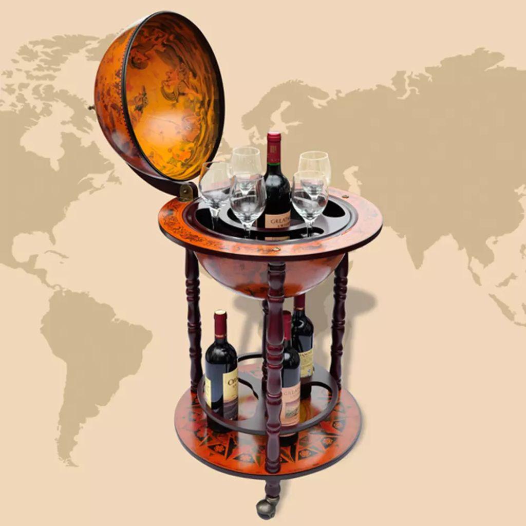 u uredu ili gdje god želite primiti goste. Globus bar stoji na kotačima i lako se može premještati. Ima dezen antičke karte svijeta. S držačem za boce i čaše