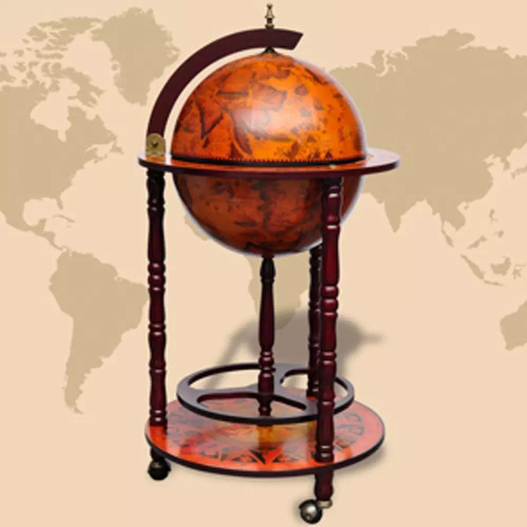 Ovaj elegantni globus bar je idealan za pohranu boca i čaša. Izrađen od čvrstog drva