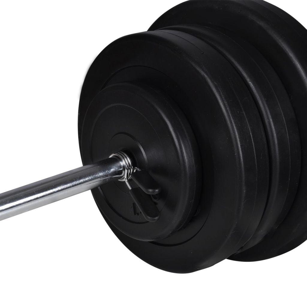 2 cijevi za utege i 16 pločastih utega. Dvoručni uteg i cijevi za utege imaju kromirane šipke s brzim akcijskim ogrlicama (šipka za dvoručni uteg)