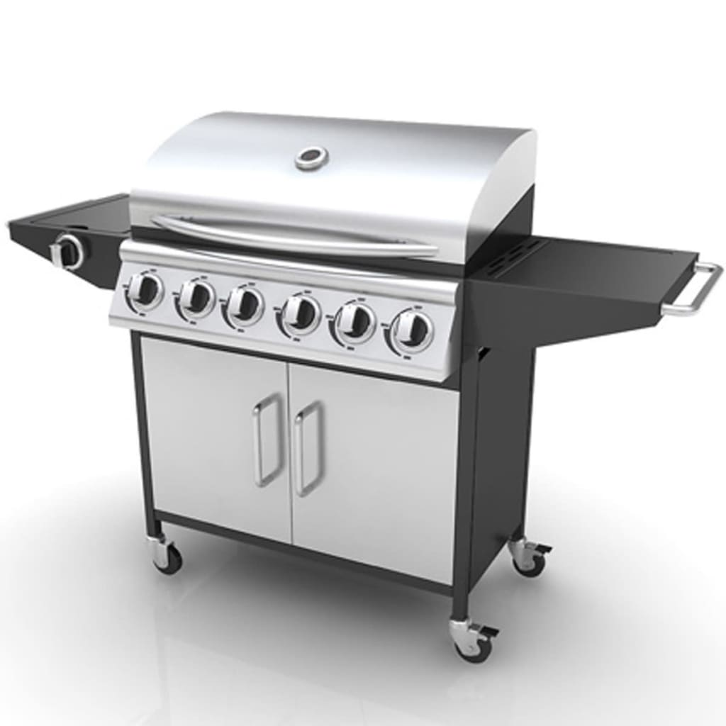 Ovaj profesionalni vanjski plinski roštilj je izrađen od čvrstog i izdržljivog nehrđajućeg čelika. Plinski roštilj je opremljen s 6 plamenika i odvojenom pločom za kuhanje (bočna plamenika). Zahvaljujući velikim prekidačima