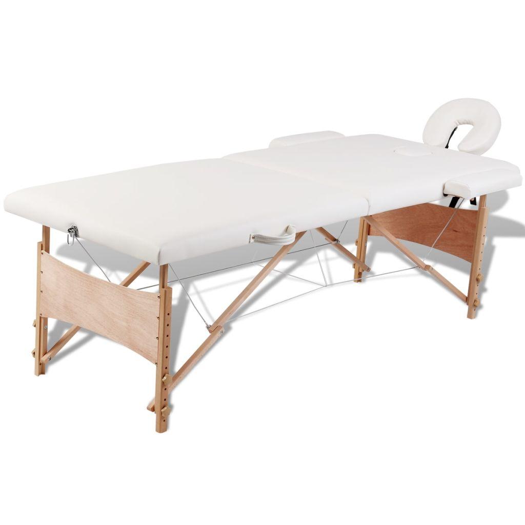 Ovaj sklopivi stol za masažu iz dva dijela ima drveni okvir i pogodan je za profesionalce ali i za amatere. Podstavljen pjenom velike gustoće