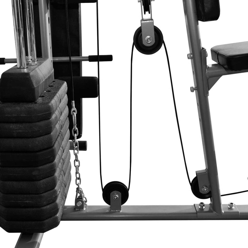bicepse i tricepse. Kućna teretana također ima ručku za vježbe povlačenja jednom rukom. Moduli za pregibe nogu ove sprave za vježbanje mogu se produžiti tako da u potpunosti vježbate bedra i noge. Ova sveobuhvatna kućna teretana ima maksimalno opterećenje od 100 kg