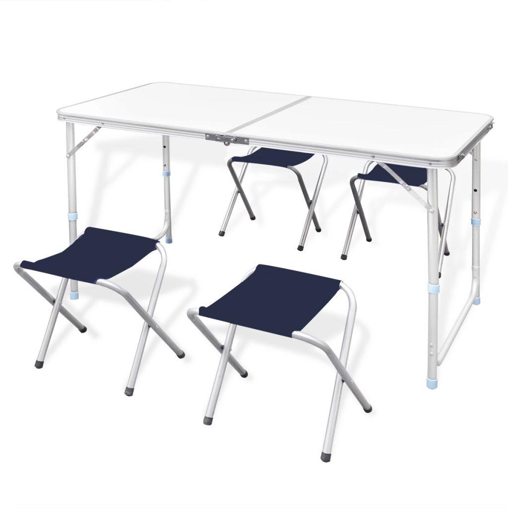 Ovaj kamperski komplet sastoji se od 1 sklopivog stola i 4 stolice. Zahvaljujući praktičnoj ručki i prilagodivoj visini stola