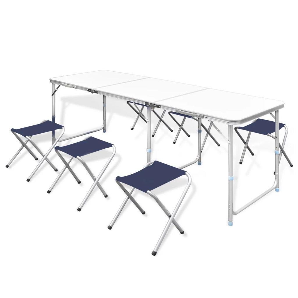 Ovaj kamperski komplet sastoji se od 1 sklopivog stola i 6 stolica. Zahvaljujući praktičnoj ručki i prilagodivoj visini stola
