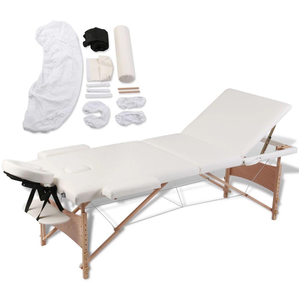 Ovaj sklopivi stol za masažu iz tri dijela ima drveni okvir a pogodan je za profesionalce ali i za amatere. Podstavljen gustom pjenom