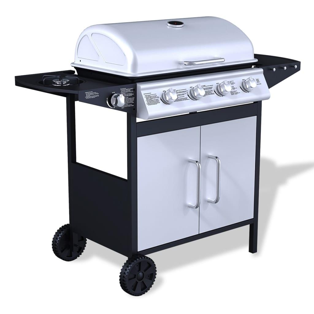 naš visokokvalitetni roštilj je elegantnog i modernog dizajna. Ima veliku ploču za kuhanje i poklopac od teškog drveta s ugrađenim termometrom. Bočni stol pruža dodatnu površinu za pripremu jela. Bočni stol ima tri kukice za vješanje sastojaka potrebnih za roštiljanje. Uklonjiva čaša za skupljanje masti lako se čisti. Kako bi se roštilj povezao s dimnjakom