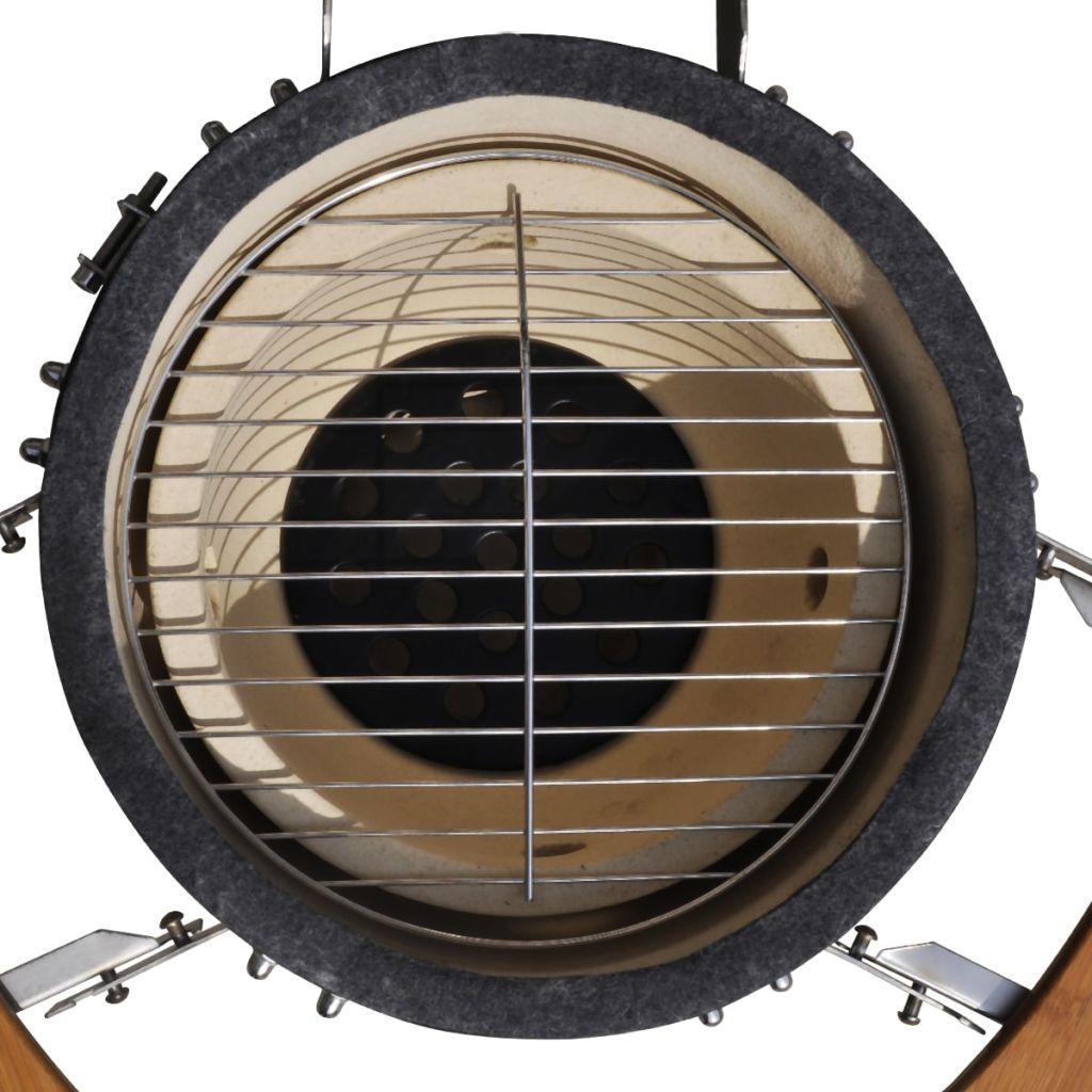kuhanja ili podgrijavanja hrane. Ova keramički roštilj ima vrlo čvrst preklopni poklopac sa otvorom i ugrađenim termometrom. Zahvaljujući slojevitom odušku