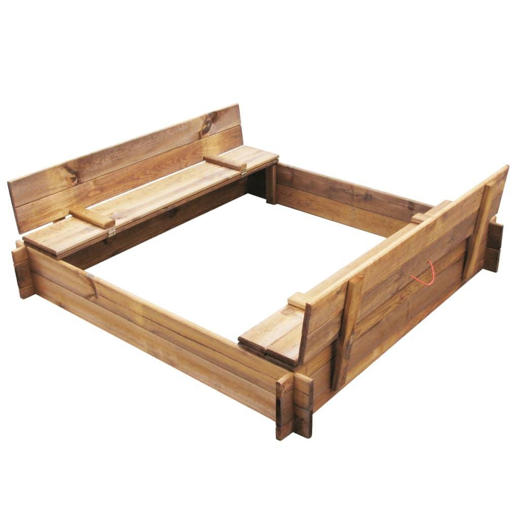 Ova odlična drvena kutija s pjeskom izvrstna je za igranje na otvorenom. Djeca će uživati u kopanju i gradnji u ovom pješčaniku sa svojim prijateljima. Ovaj pješčanik se također može napuniti kuglicama umjesto pijeskom. Višenamjenski pješčanik ima fleksibilan dizajn: drveni poklopac odmah se pretvara u 2 klupe na koje djeca mogu sjesti. Poklopac također ima 2 crvene ručke