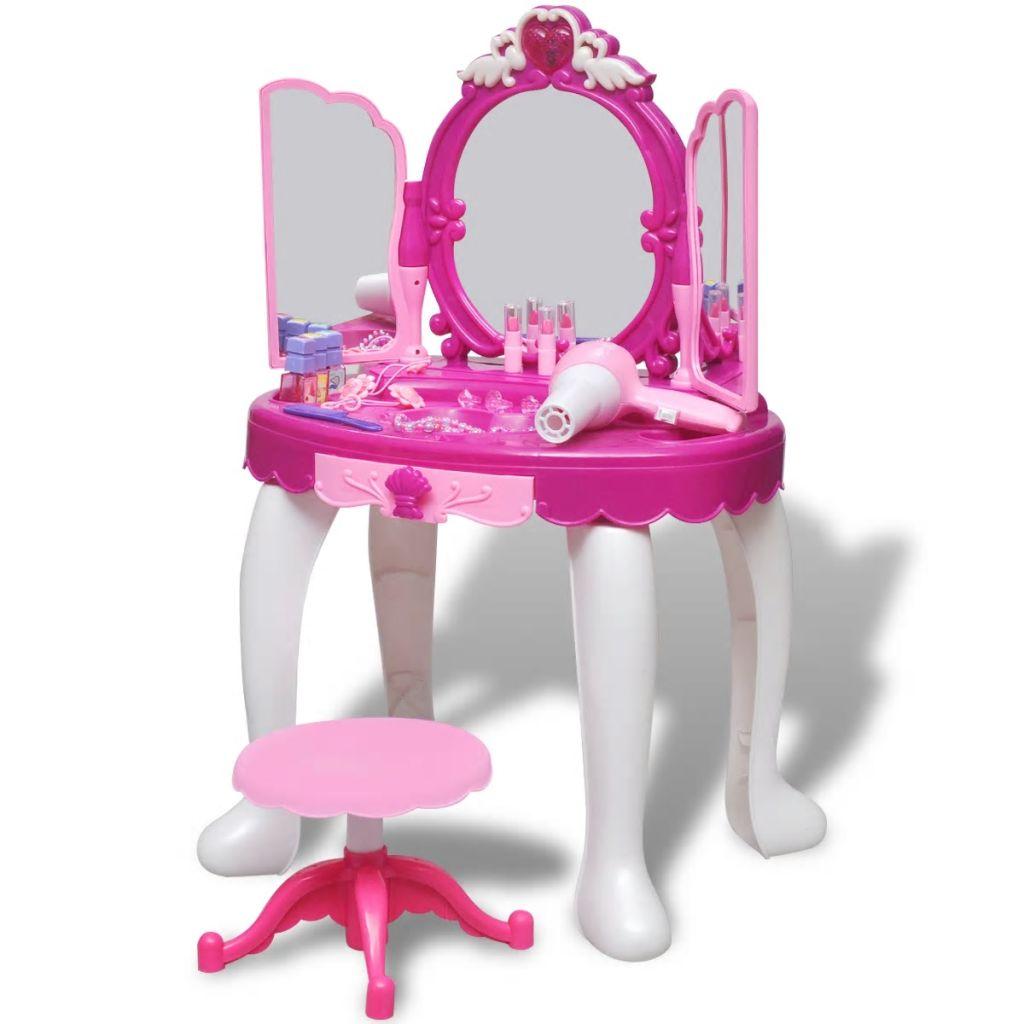 Unesite u život svoje djece dozu glamura s ovim dječjim stolom za šminkanje. Tvoj mali entuzijast šminkanja ili umjetnik friziranja se može pripremati uz pomoć ovog čvrstog
