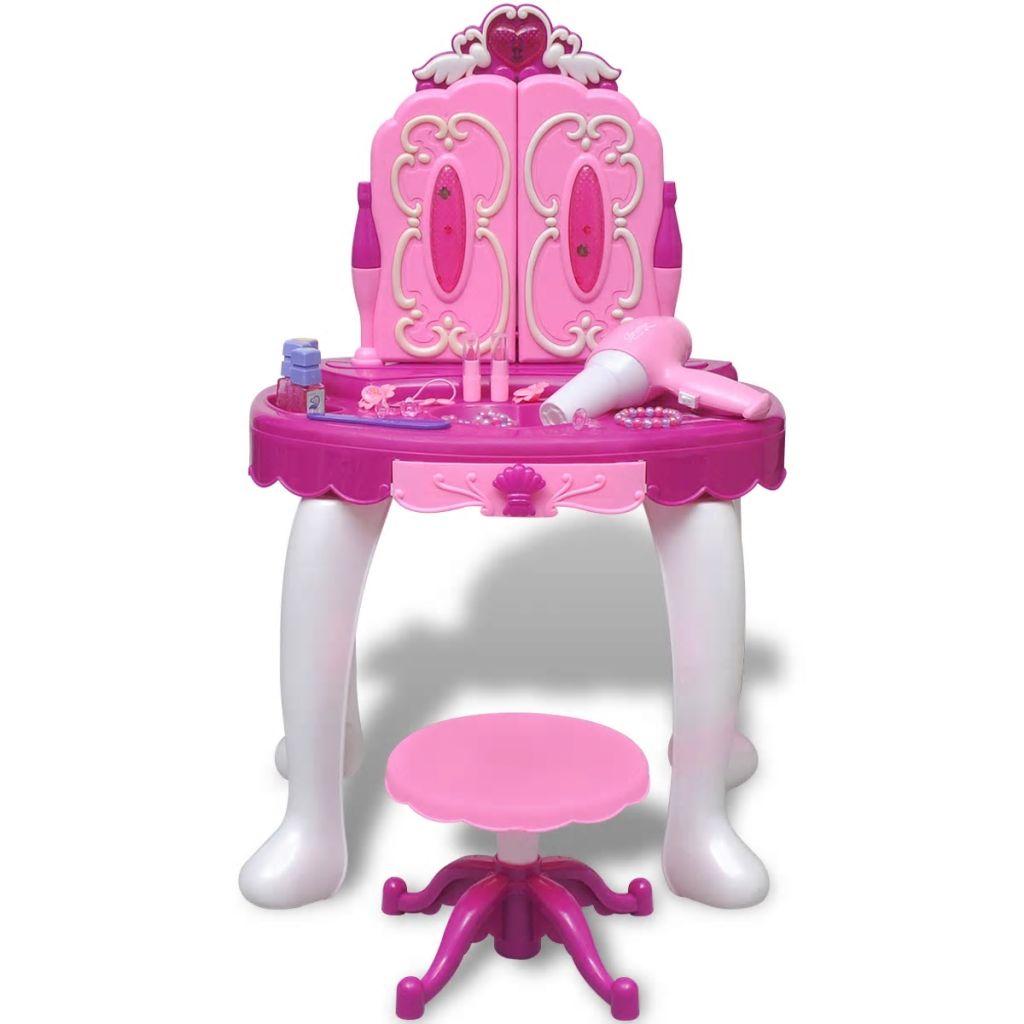plastičnog stola koji je siguran i funkcionalan. Toaletni stol ima ugrađena svjetla koja se kontroliraju na dugme i funkcioniraju na baterije
