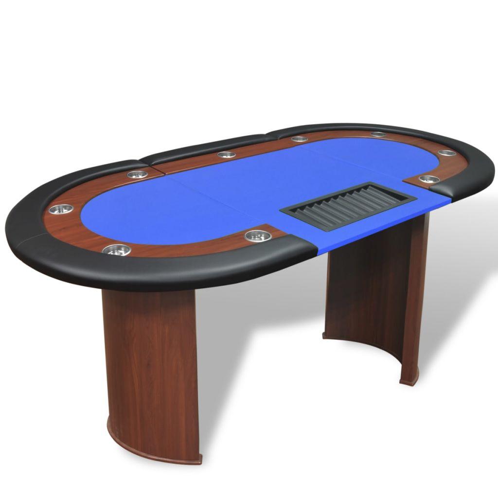 Uživajte u uzbuđenjima kasina u udobnosti vlastitog doma i organizirajte zabavne pokeraške noći s vašim prijateljima zahvaljujući ovom fantastičnom stolu za poker! Obrub ovog profinjenog stola za poker ima visokokvalitetne naslone za ruke od umjetne kože s gustim i luksuznim pjenastim punjenjem. Stol također ima i 9 ugrađenih držača za čaše od nehrđajućeg čelika koji će spriječiti prolijevanje. Podstavljena igraća podloga plave boje je udobna i ravna te će držati karte i žetone na mjestu. Ovaj stol za poker je namijenjen za 10 igrača i uključuje prostor za djelitelja i držač za žetone koji može držati 500 žetona. Držač se jednostavno može odvojiti kako bi se očistio. Zahvaljujući čvrstim i poluokruglim nogama od MDF-a