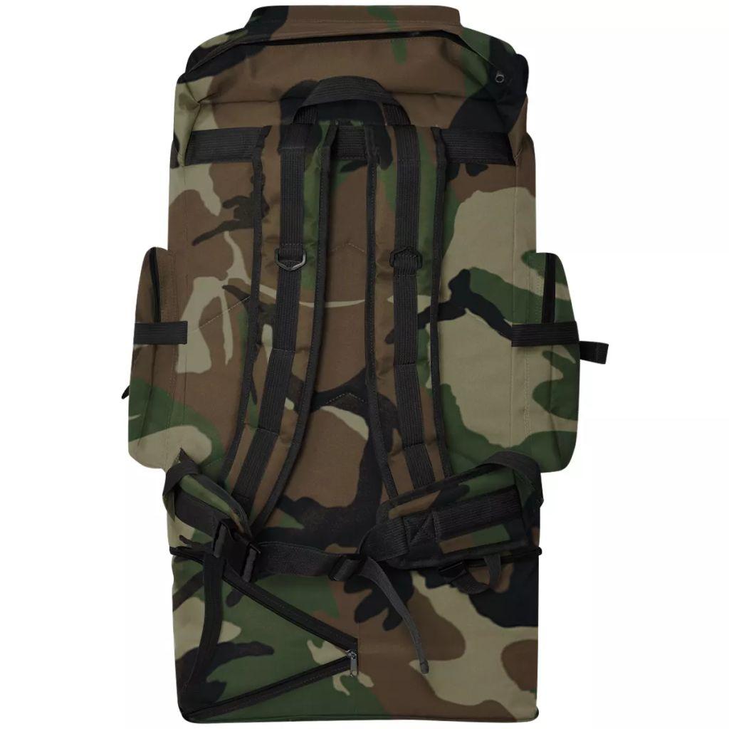 ovaj ruksak je izdržljiv i vodootporan. Ruksak u vojnom stilu ima dvije široke naramenice i podesivi remen za struk sa kopčom za zatvaranje. Ima veliki kapacitet od 100 litara