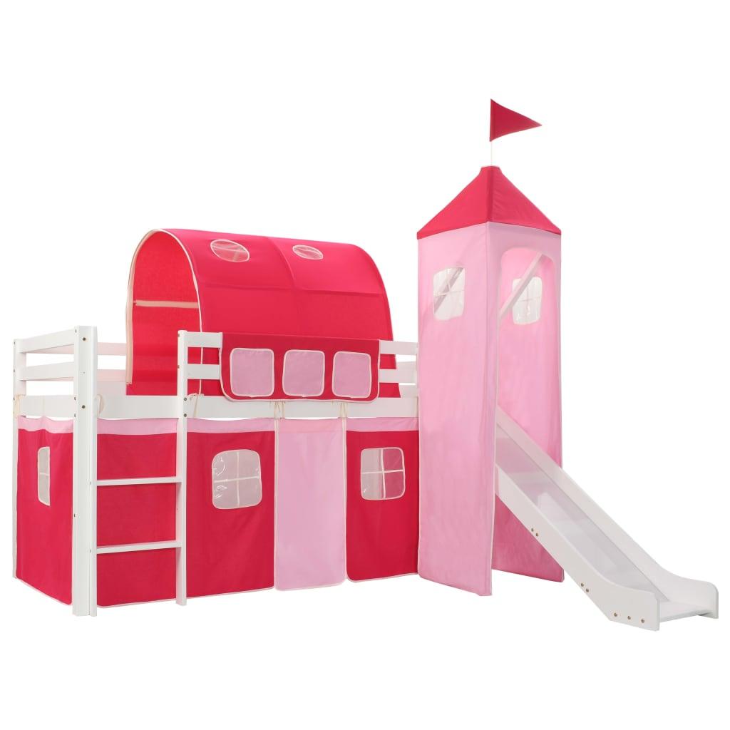 Ovaj dječji krevet na kat s temom princeze uistinu će privlačiti poglede u spavaćoj sobi vašeg djeteta. Krevet ima čvrstu konstrukciju i isporučuje se s podnicama