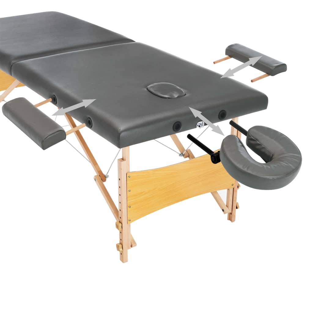 što omogućuje korisniku da udobno leži a terapeutu da bira željenu visinu rada. Stol se lako sastavlja. Može se preklopiti u oblik kofera. Torba za prijenos je uključena u isporuku za jednostavan transport i pohranu.