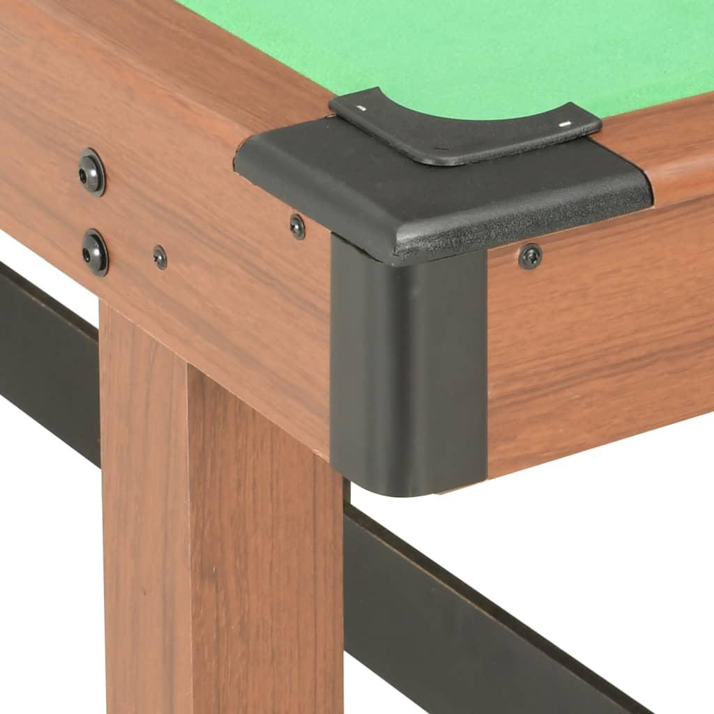 čime se osigurava dugotrajna kvaliteta. Uključeni su poravnjivači nogu kako bi se dobro namjestio na neravnom tlu za igranje. Površina za igru prekrivena je zelenom tkaninom otpornom na habanje i napravljena je tako da odoli savijanju tijekom vremena. Ovaj stol izgleda fenomenalno