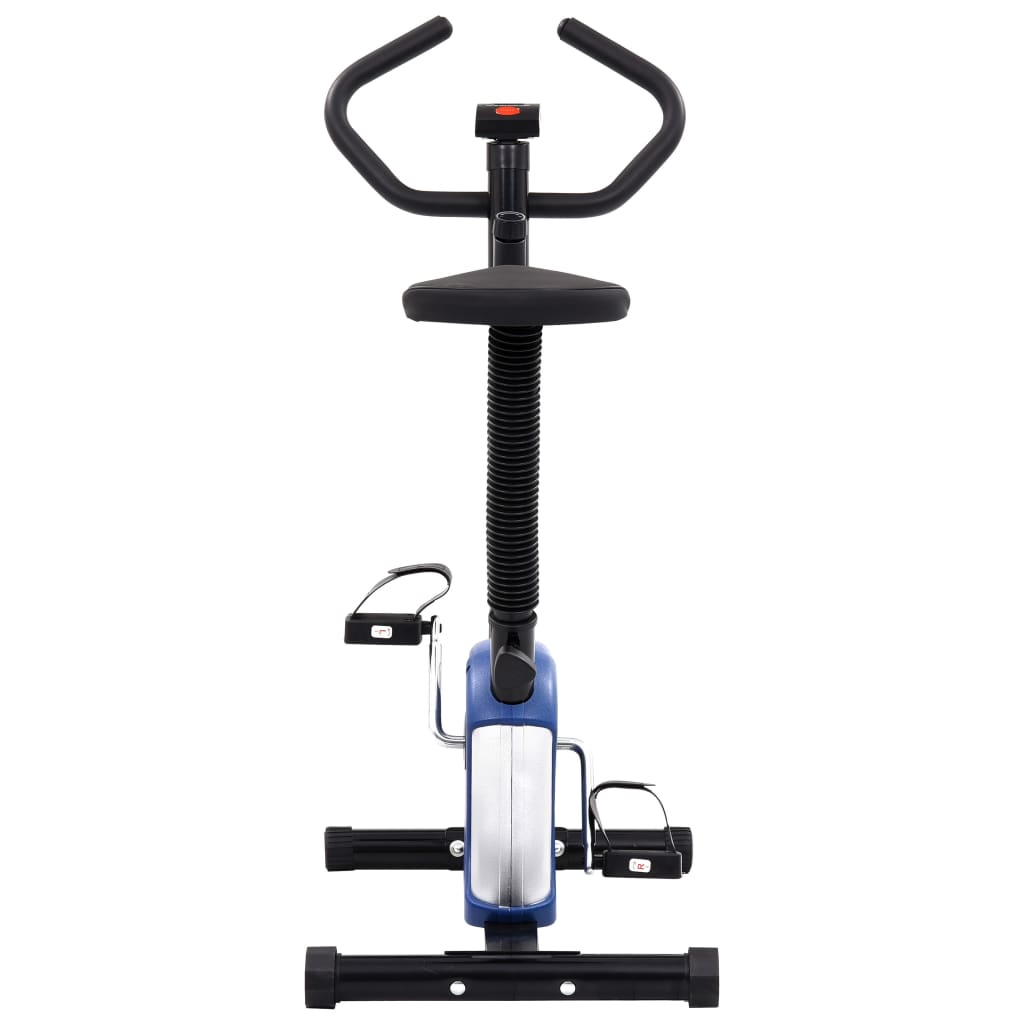 udaljenosti i potrošenim kalorijama. Bicikl za vježbanje ergonomski je dizajniran. Sjedalo se može okomito podesiti kako bi odgovaralo vašoj visini. Neklizeće pedale omogućuju optimalan prijenos snage s nogu na pedale. Trake pedala spriječit će slučajno iskliznuće stopala s pedala. Mikro-podesivi sustav otpora s remenom i precizno uravnotežen zamašnjak slobodni su od trenja radi glatkog i tihog rada bez potrebe za održavanjem. Bicikl za vježbanje potrebno je sastaviti.