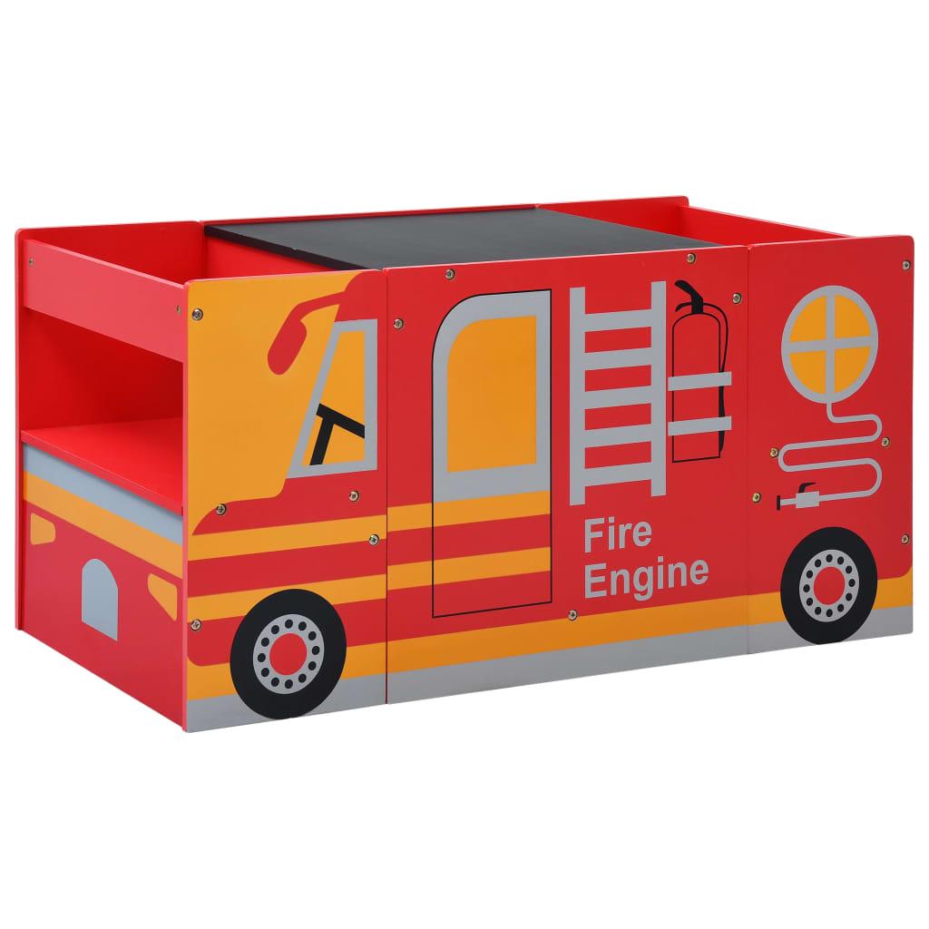 Ovaj set s dizajnom vatrogasnog vozila sastoji se od dvije stolice i stola s crnom pločom. Svakako će privući pažnju vaših mališana i sigurno će ga voljeti. Izrađen od izdržljivog MDF-a i borovog drva s premazom od netoksične boje