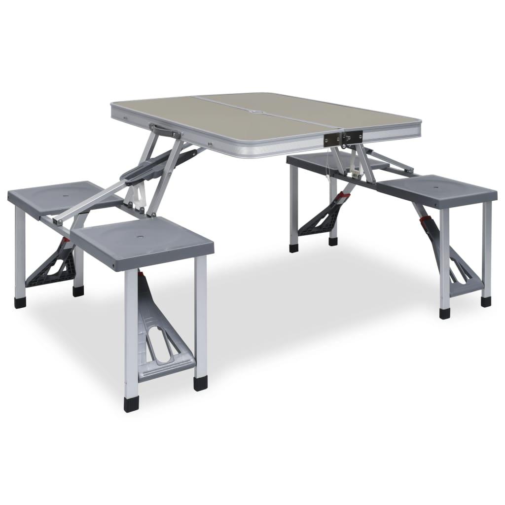 Ovaj sklopivi komplet za piknik sadrži 1 stol i 4 stolca. S praktičnom ručkom za nošenje i sklopivim dizajnom