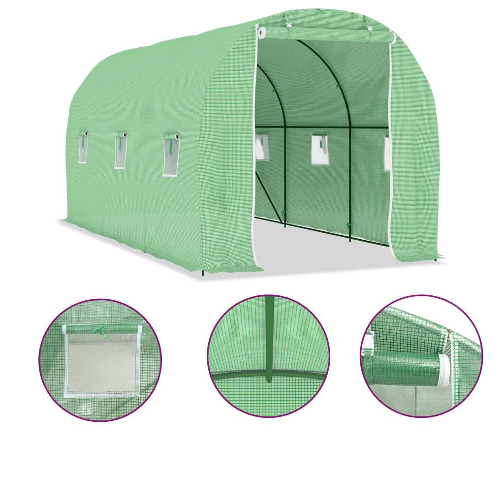 kao i jednim vratima dimenzija 100 x 185 cm. Staklenik se lako sastavlja. Preporučujemo dodavanje baze radi dodatne čvrstoće. Napominjemo da krov našeg staklenika ne može izdržati teške snježne padaline.