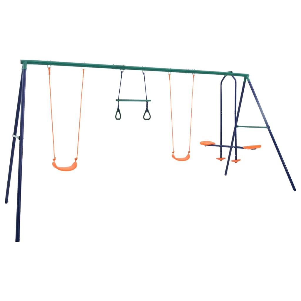 Igranje na ovom setu ljuljački bit će omiljena aktivnost na otvorenom vašoj djeci! Najviše 5 djece može se istovremeno igrati i uživati u svježem povjetarcu ili sunčanom danu. Ovaj set ljuljački sastoji se od čvrstog čeličnog okvira u obliku slova A s 2 jednostruke ljuljačke