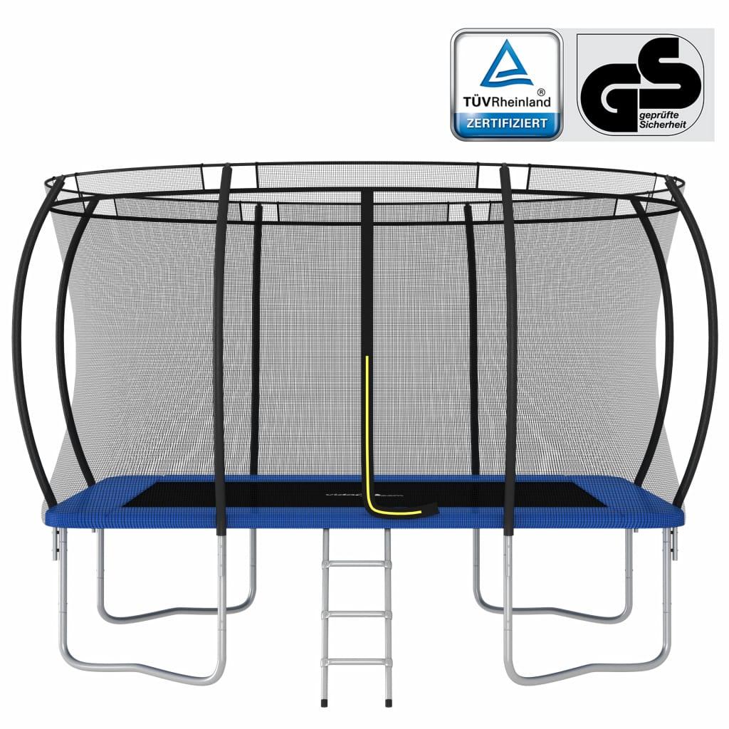 ulazne ljestve i navlaku za kišu. Vanjski trampolin napravljen je od okvira od pocinčanog čelika otpornog na hrđu s 4 noge u obliku slova U kako bi se osigurala stabilnost. Naš trampolin ima certifikat GS i proizveden je u skladu s najvišim sigurnosnim standardima. Štoviše