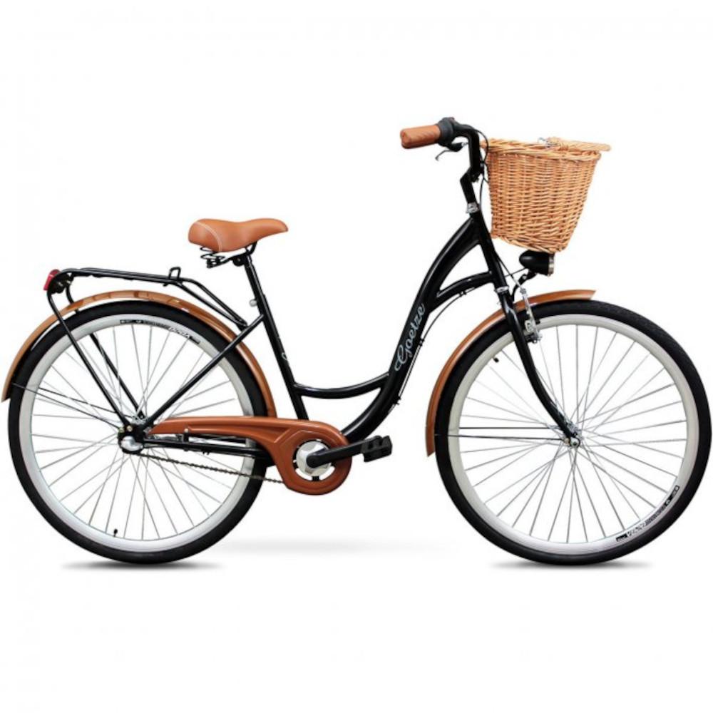 Ženski gradski bicikl crni, široko sjedalo sa oprugama