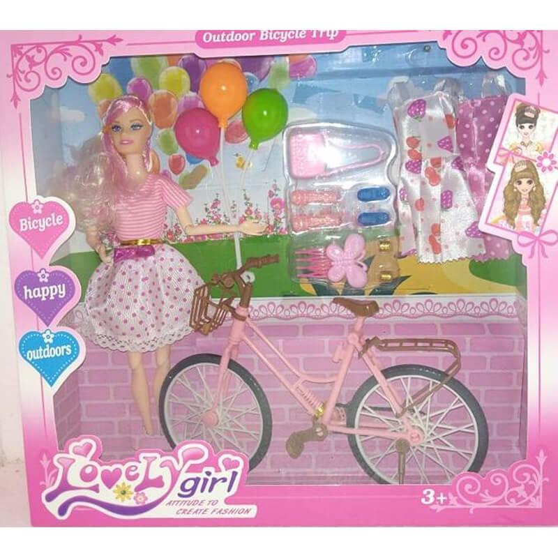 Barbie lutka sa biciklom, ljetnim haljinama i priborom za uljepšavanje